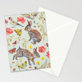 Bunny Meadow Pattern - Green Stationery Cards