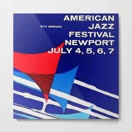 1957 Newport Jazz Festival Vintage Advertisement Poster Newport, Rhode Island Metal Print