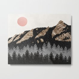 Flatirons Boulder Colorado - Climbing Gold Mountains Metal Print