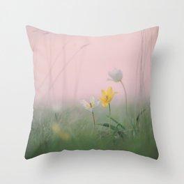 wild rare pretty tulips in grass field in spring Throw Pillow