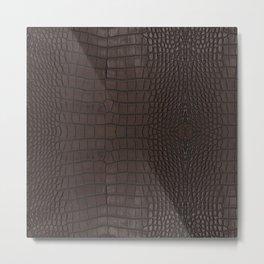 Alligator Brown Leather Print Metal Print