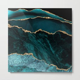 Teal Blue Emerald Marble Landscapes Metal Print