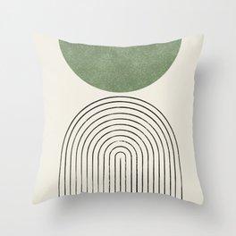 Arch balance green Throw Pillow