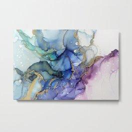 Moody Mermaid Bubbles Abstract Ink Metal Print