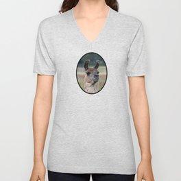 Llama Portrait - 1 Unisex V-Neck