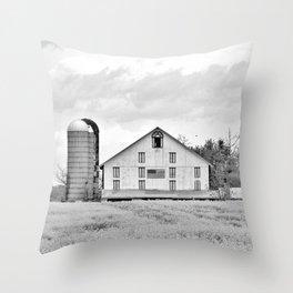 Barn and Silos BW Throw Pillow