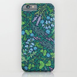 Lavender and lupine with cornflowers on herbal background iPhone Case