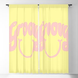 Groovy Smile // Fun Retro 70s Hippie Vibes Lemonade Yellow Grapefruit Pink Lettering Typography Art Blackout Curtain