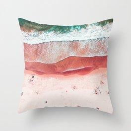 Pink Beach Print, Aerial Beach, Bondi Beach, Aerial Photography, Ocean Waves, Waves Print, Sea Print, Modern Home Decor Print Art Throw Pillow
