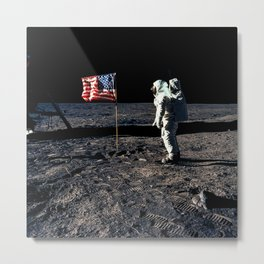 Buzz Aldrin and the U.S. Flag on the Moon Metal Print