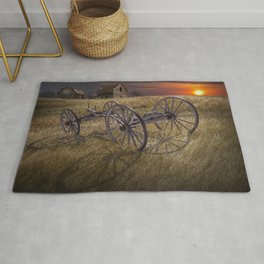 Farm Wagon Chassis in a Grassy Field on a Mid West Farm at Sunset Rug