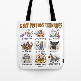 Cat Petting Techniques Tote Bag