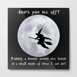 Witch, Witch Flying Across the Moon Metal Print