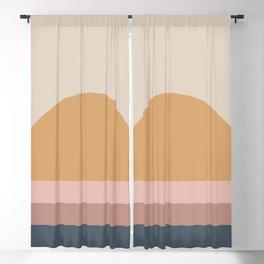 Minimal Retro Sunset - Neutral Blackout Curtain