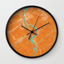 Levis, QC, Canada, Gold, Blue, City, Map Wall Clock