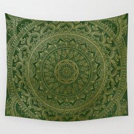 Mandala Royal - Green and Gold Wall Tapestry