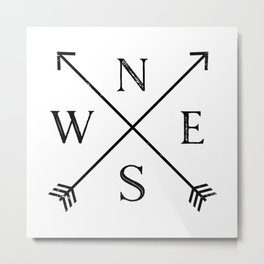 Black and White Compass Metal Print
