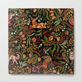 Khokhloma Russian Forest Animals Metal Print