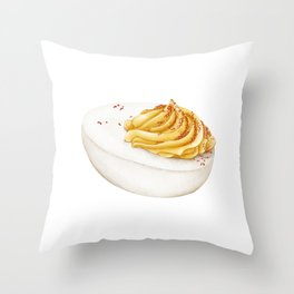 Watercolor Illustration of deviled Egg Throw Pillow