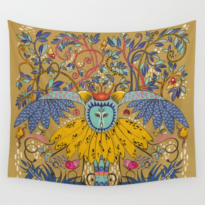 Owl in gold kingdom Wall Tapestry