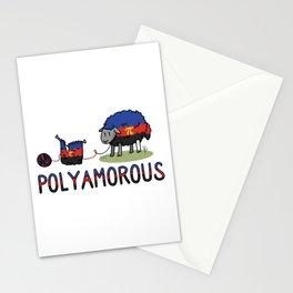 Cute poly amorous sheep cartoon vector illustration motif set. Stationery Cards