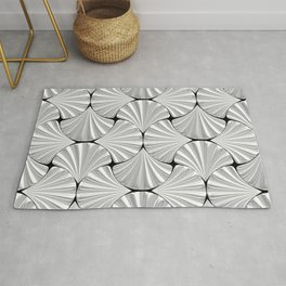 3-D Art Deco Silver Shells Pattern Rug