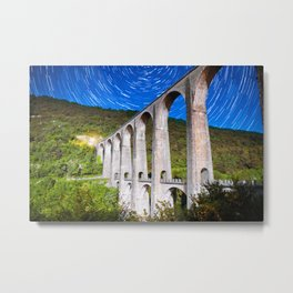 French old stone viaduct architecture under moonlight with star trails at night Metal Print