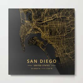 San Diego, United States - Gold Metal Print