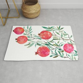 red pomegranate watercolor Rug
