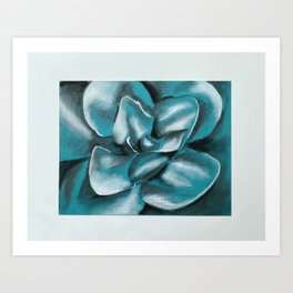 Blue Charcoal Flower Art Print