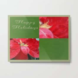 Mottled Red Poinsettia 2 Happy Holidays Q5F1 Metal Print