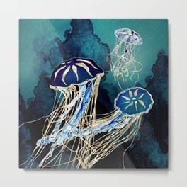 Metallic Jellyfish III Metal Print