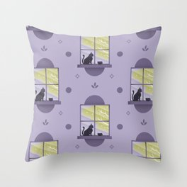 Happy At Home - Playful Cat Pattern V2 Throw Pillow