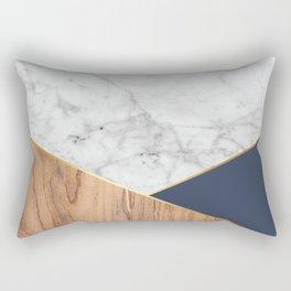 Geometric White Marble - Wood & Navy #599 Rectangular Pillow