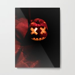 Digital Painting of one Beautifully Craved, Scary Halloween Pumpkin Sitting on the Sones Outside Metal Print