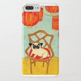 Chinese New Year Happy Year of the Dog pug celebration painting iPhone Case