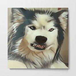Angry Wolf - Wheres My Coffee ? Metal Print