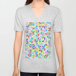 Flower of Life Pattern – Multicoloured Unisex V-Neck