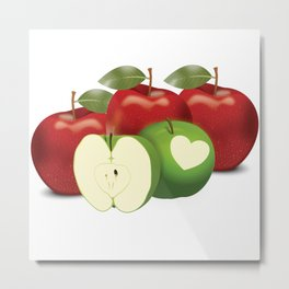 Apple with heart and a leaf in style Metal Print