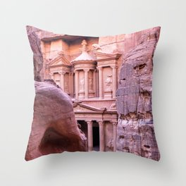 Petra Al Khazneh Treasury Temple Ruins by Day Throw Pillow