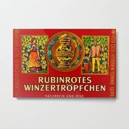 Vintage 1963 Wine Bottle Label Rubinrotes Winzertropfchen Metal Print