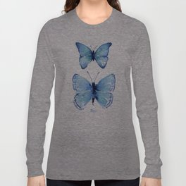 Two Blue Butterflies Watercolor Langarmshirt