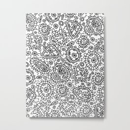 Squiggle Doodle in Black and White Metal Print
