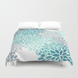 Floral Pattern, Aqua, Teal, Turquoise and Gray Duvet Cover