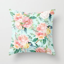 Minty Vintage Floral Throw Pillow