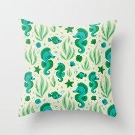 Seahorses (Blue & Green) Throw Pillow