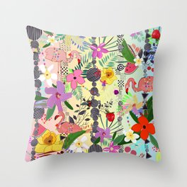 Tropical Flower, Flamingo and Exotic Flowers Pattern With Cherry, Strawberry rainbow background Throw Pillow
