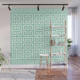 Greek Key (Mint & White Pattern) Wall Mural