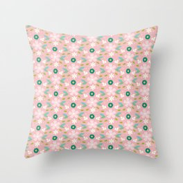 Pink meadow Throw Pillow