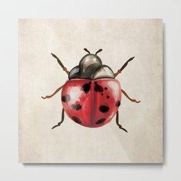 Watercolor Lady Bug Lady Bird Metal Print